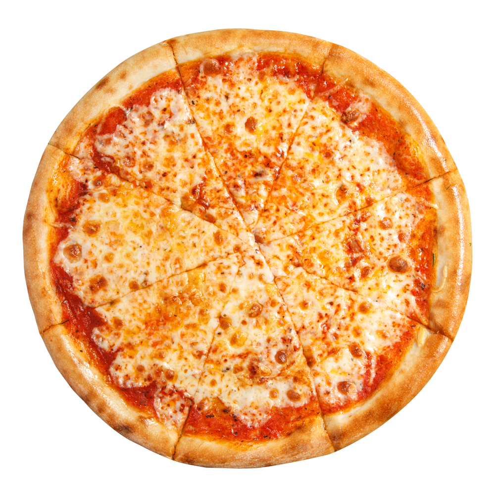 A top down view of a whole cheese pizza, cut into eight triangular slices.